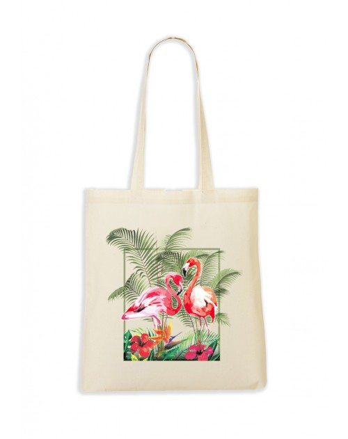 TOTEBAG NATUREL FLAMINGO