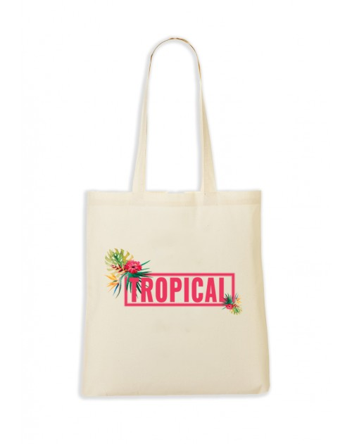 TOTEBAG NATUREL TROPICAL ROSE