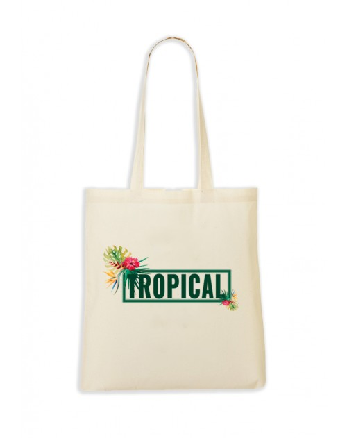 TOTEBAG NATUREL TROPICAL VERT
