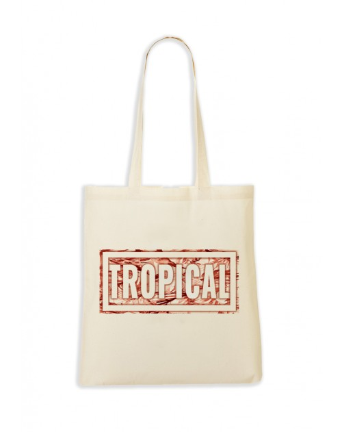 TOTEBAG NATUREL TROPICAL ROUGE