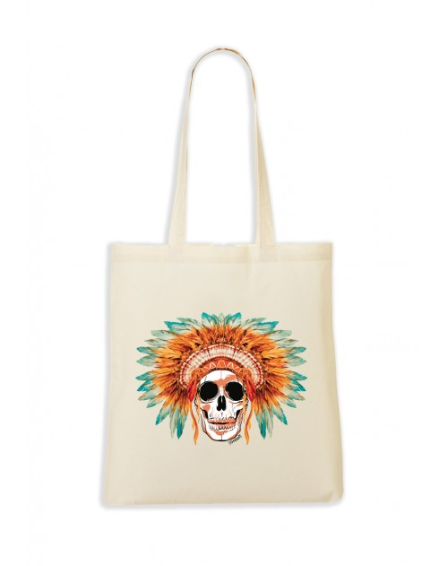 TOTEBAG NATUREL SKULL COIFFE