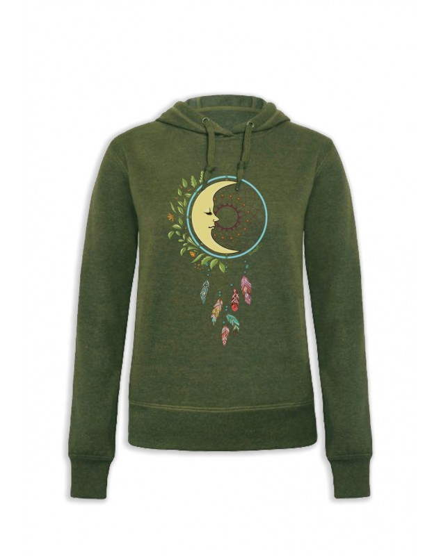 SWEAT CAPUCHE KAKI FEMME DREAM MOON