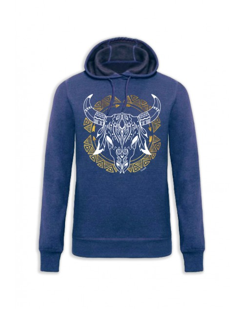 SWEAT CAPUCHE BLEU ETHNIC SKULL