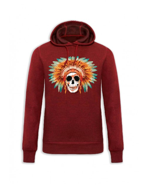 SWEAT CAPUCHE ROUGE HOMME SKULL COIFFE