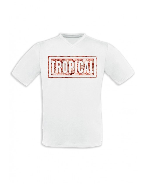 T-SHIRT HOMME TROPICAL ROUGE