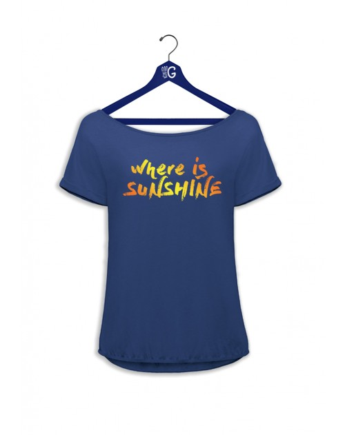 TSHIRT BLEU FEMME WHERE IS SUNSHINE