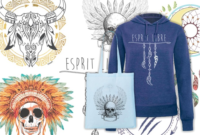 COLLECTION TRIBU TOTEBAG BLEU PASTEL SKULL AILE ET SWEAT CAPUCHE FEMME BLEU ESPRIY LIBRE